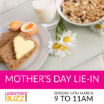 breakfast in Bed with leighton Buzz Radio picturing a breakfast tray with pretty daisies