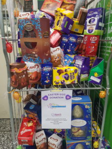 easter egg donation station in store at Morrisons Leighton Buzzard